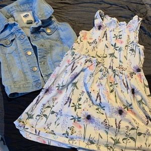 Old navy jean vest and h&m dress 4t 4-6y
